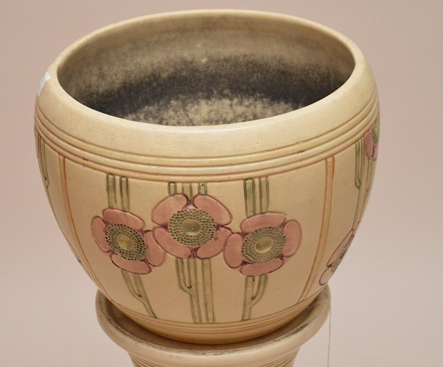 """Weller pottery """"Flemish"""" pattern jardinire and stand, - 2"""
