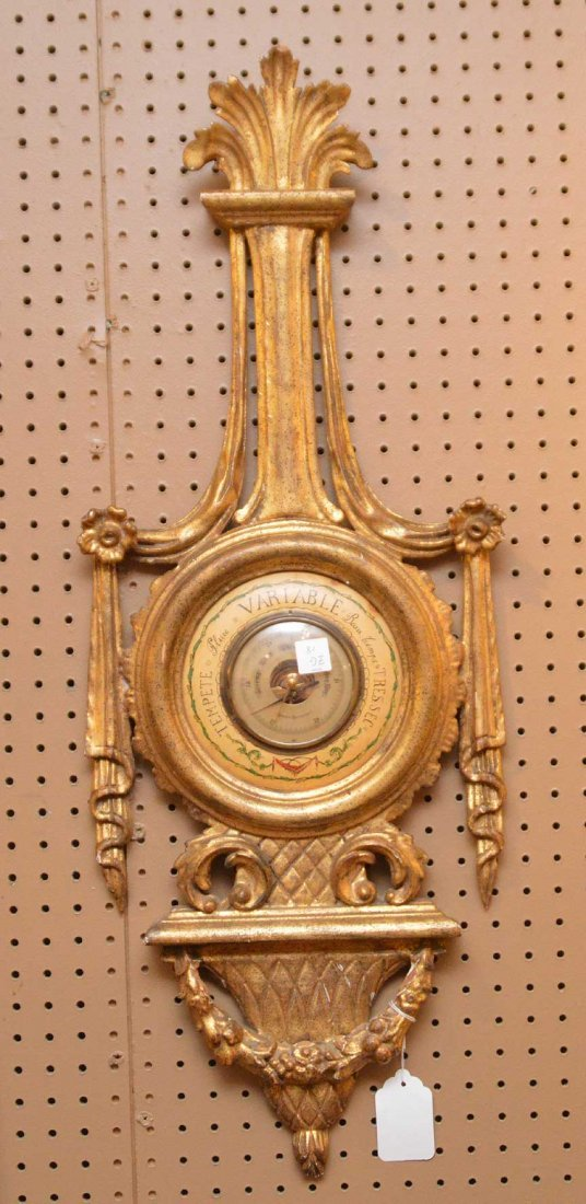 """Carved giltwood Barometer, 35""""h x 13""""w"""