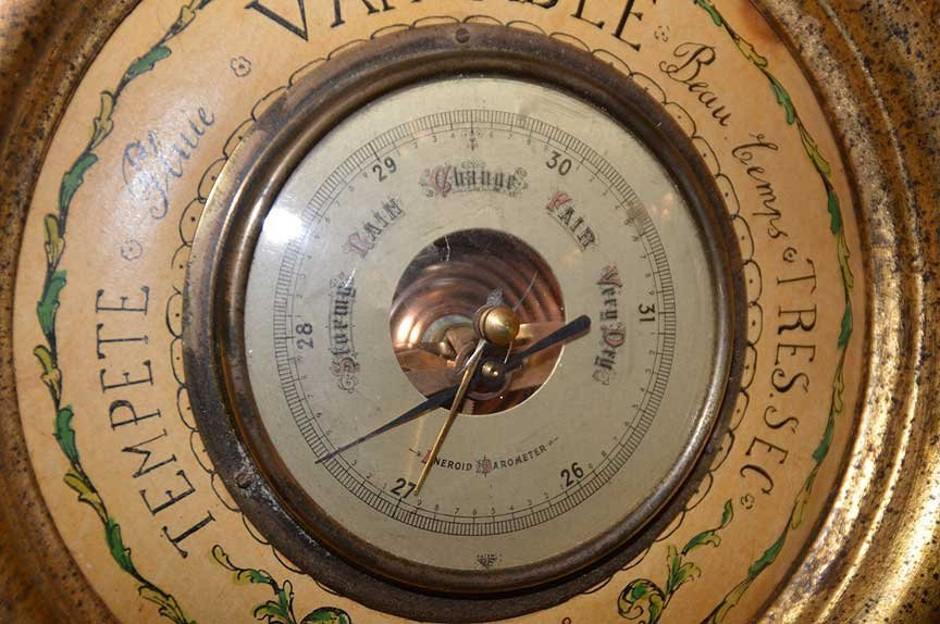 """Carved giltwood Barometer, 35""""h x 13""""w - 5"""