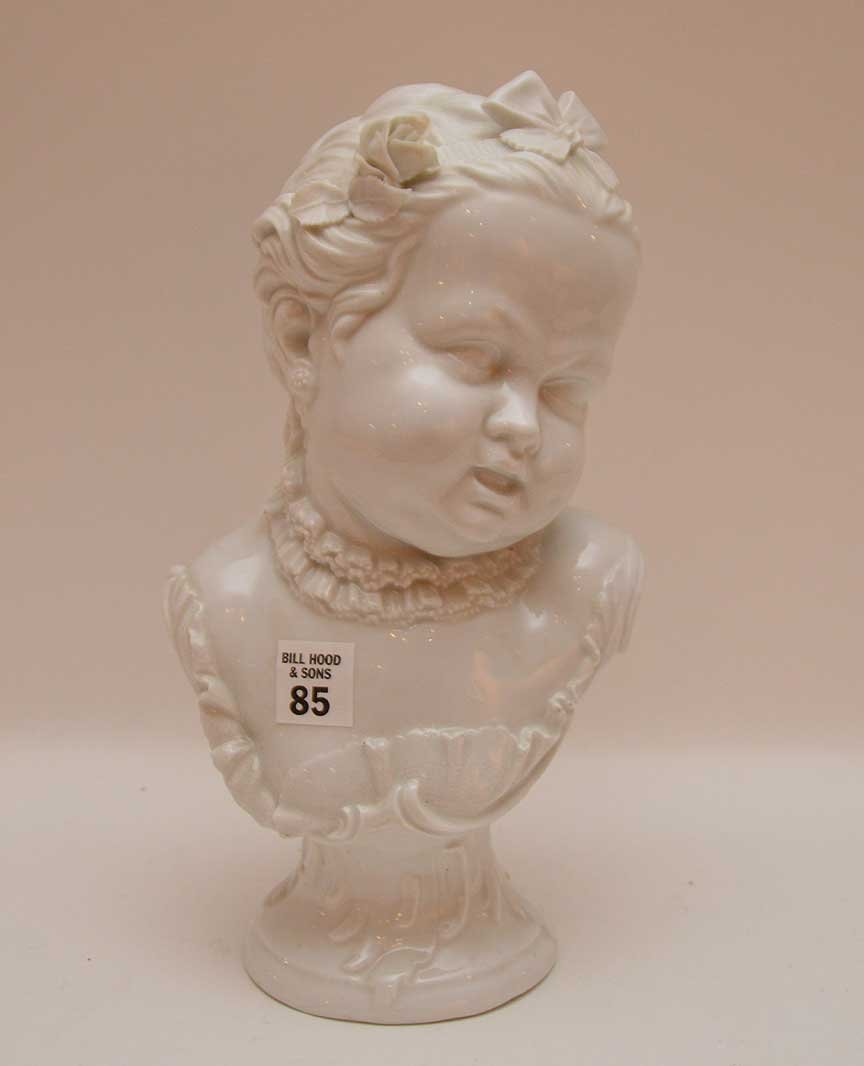 "Vienna porcelain bust of a young girl, 11 1/2""h"