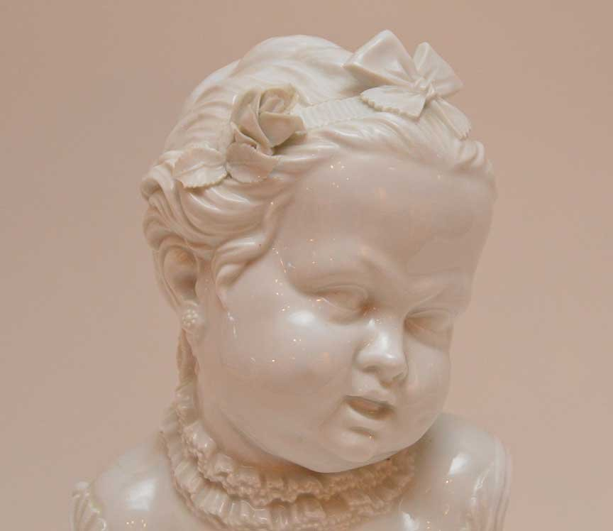 "Vienna porcelain bust of a young girl, 11 1/2""h - 2"