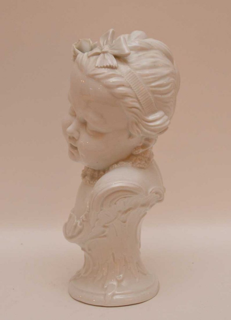 "Vienna porcelain bust of a young girl, 11 1/2""h - 3"