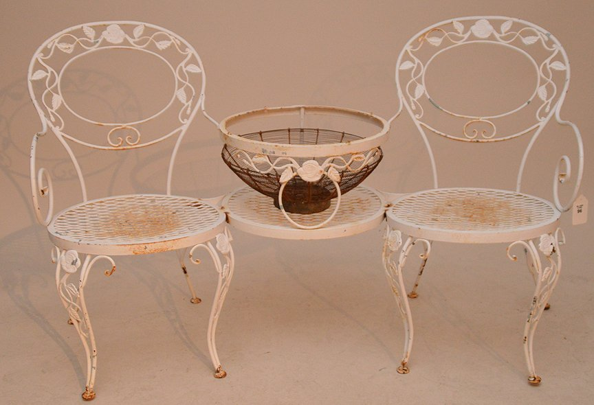 Painted white metal patio settee with attached center