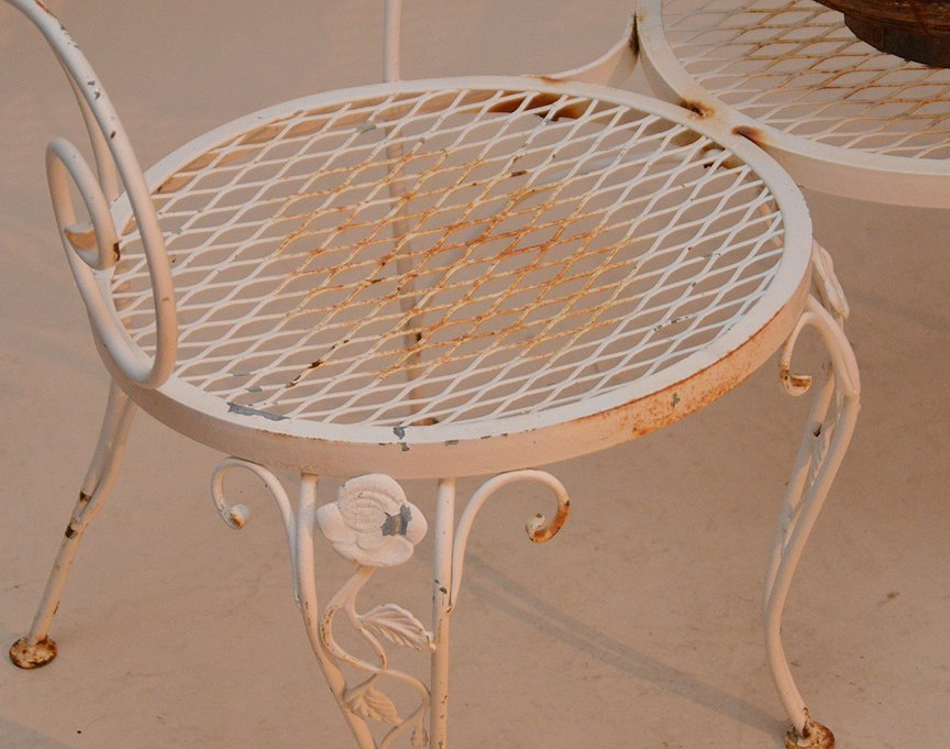 Painted white metal patio settee with attached center - 2