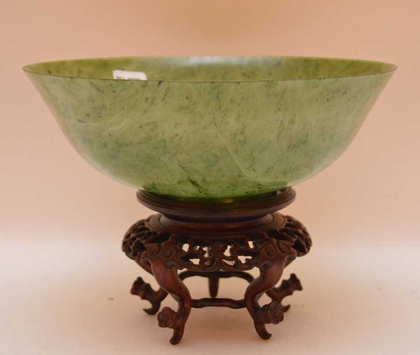 """Jade bowl with custom carved wood stand, 3 1/4""""h x  9"""