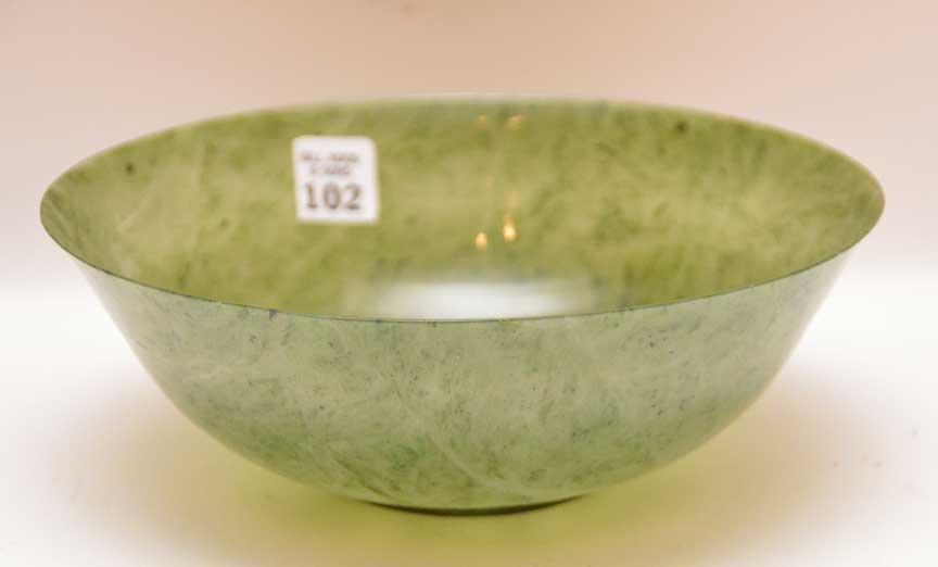 """Jade bowl with custom carved wood stand, 3 1/4""""h x  9 - 2"""