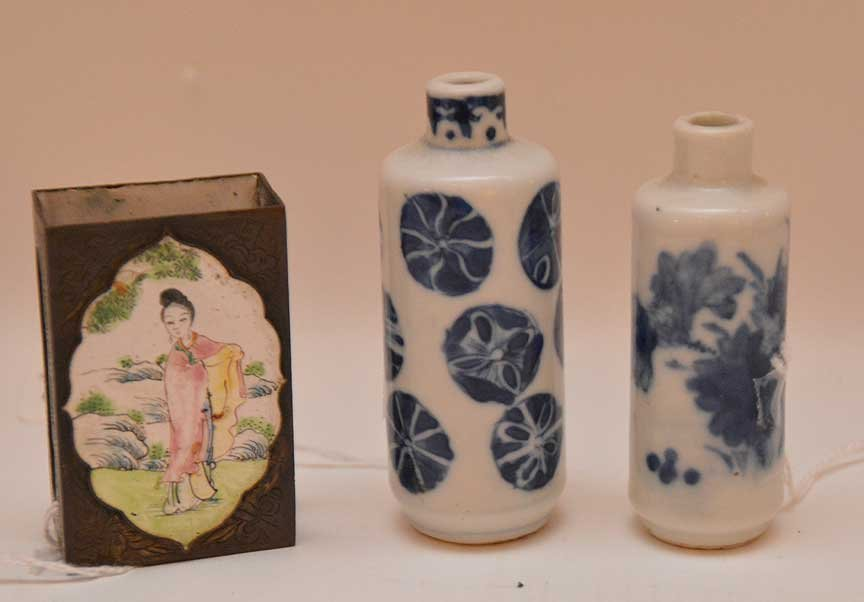 2 Chinese porcelain vases together with enamel match