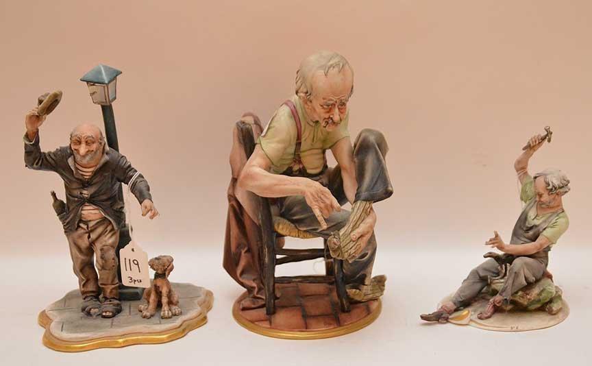 Lot 3 Capodimonte figures, incl; man fixing sock (10