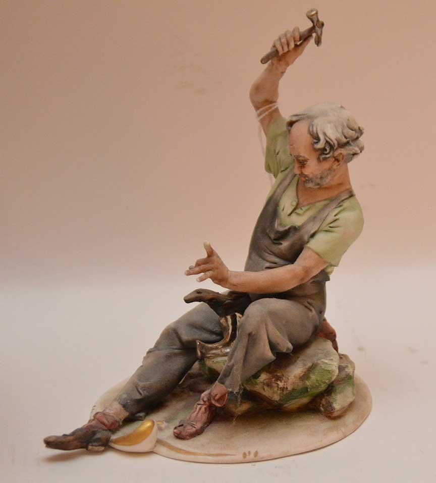 Lot 3 Capodimonte figures, incl; man fixing sock (10 - 2