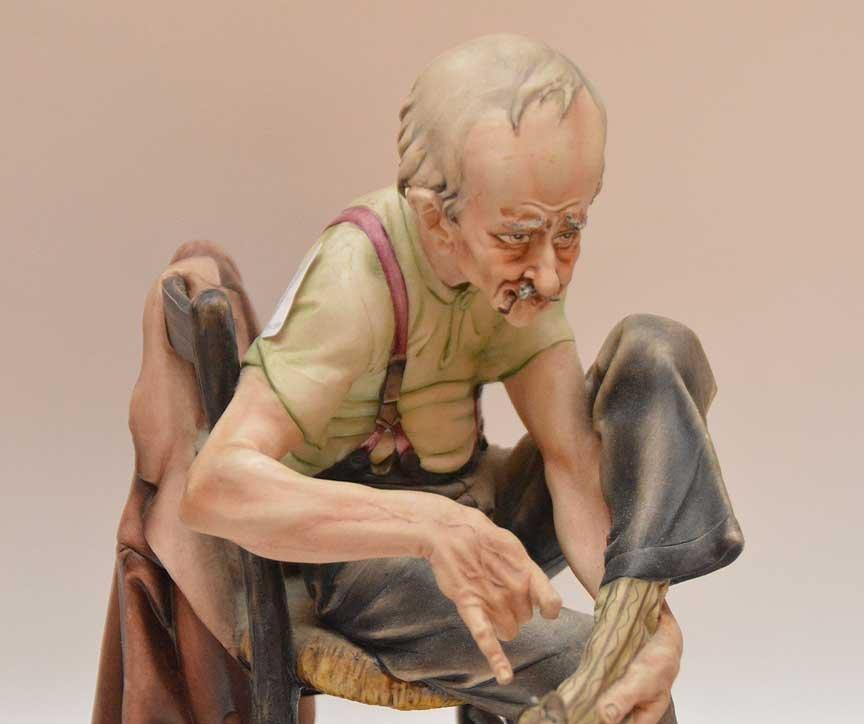 Lot 3 Capodimonte figures, incl; man fixing sock (10 - 3