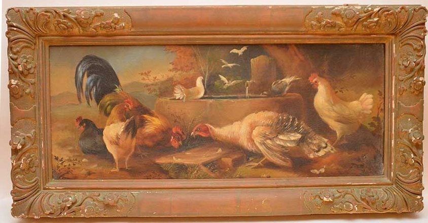 Antique Rooster Painting, oil on canvas-relined, in
