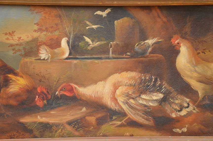 Antique Rooster Painting, oil on canvas-relined, in - 2