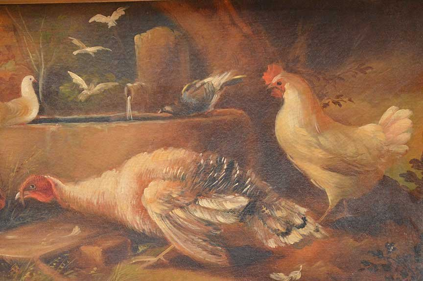 Antique Rooster Painting, oil on canvas-relined, in - 4