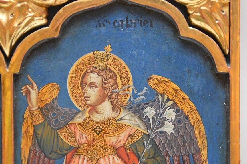 "European Antique Triptych Icon, 15"" x 25"" - 3"
