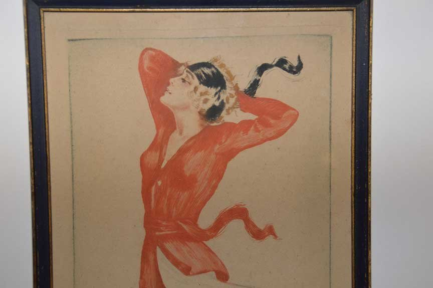 Deco etching by Max Brning (GERMAN, 1887-1968), color - 2