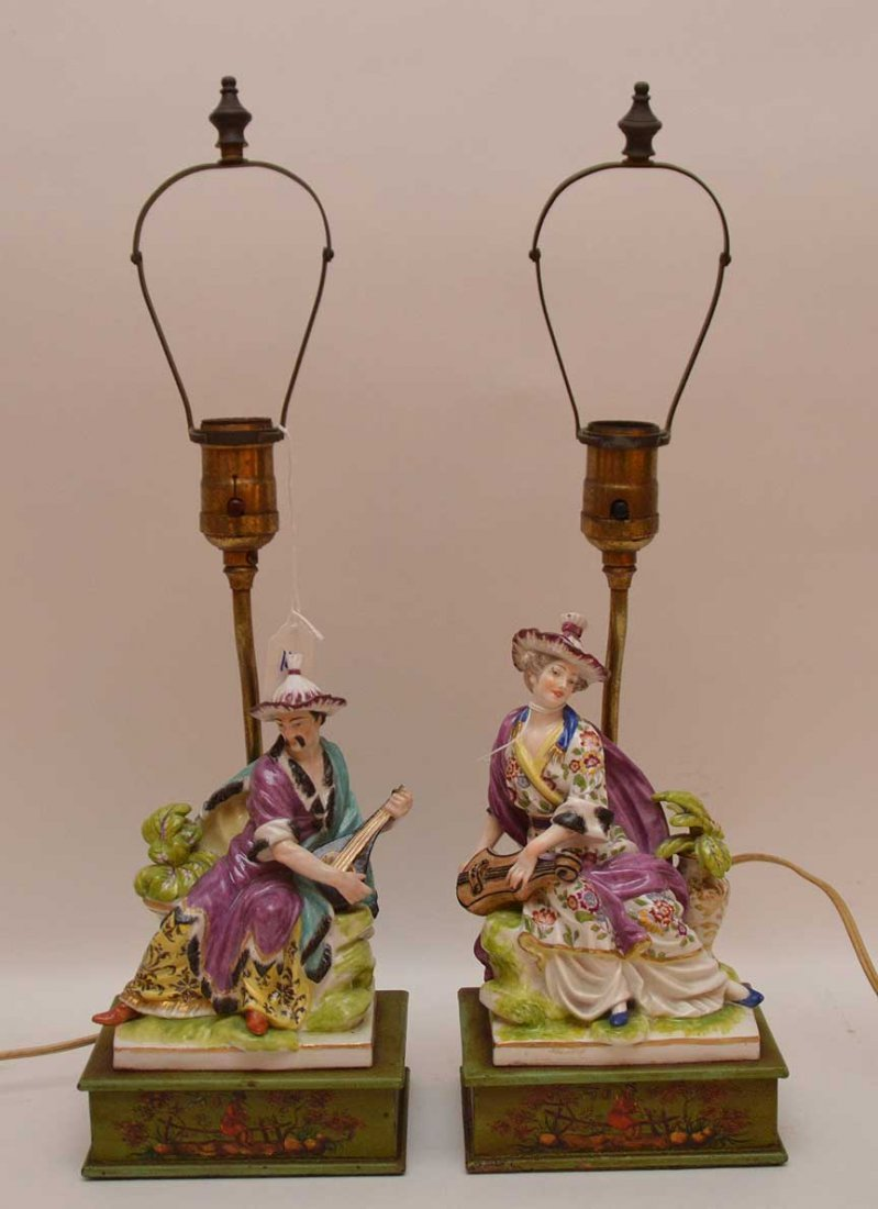 "Pair of porcelain lamps, 18""h"