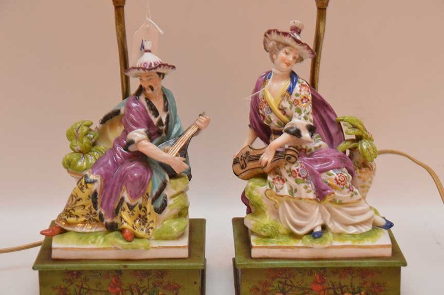 "Pair of porcelain lamps, 18""h - 2"