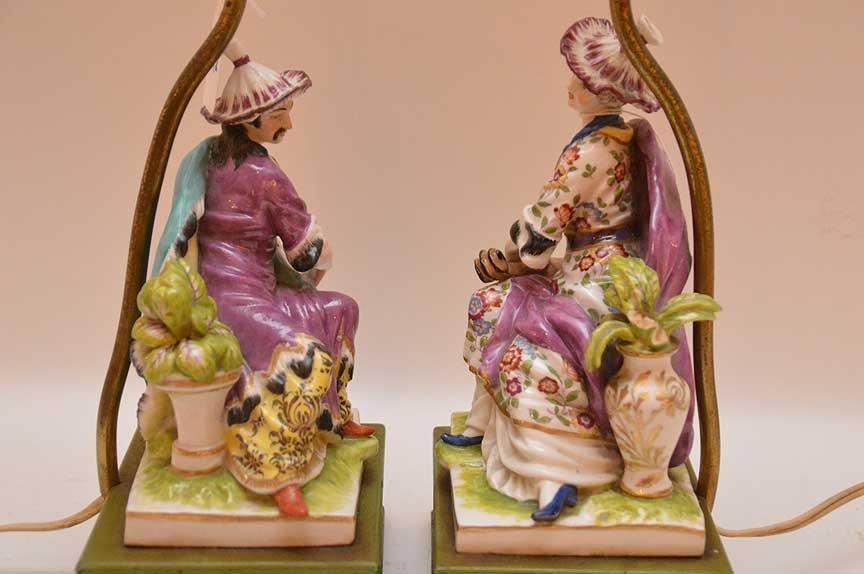 "Pair of porcelain lamps, 18""h - 5"