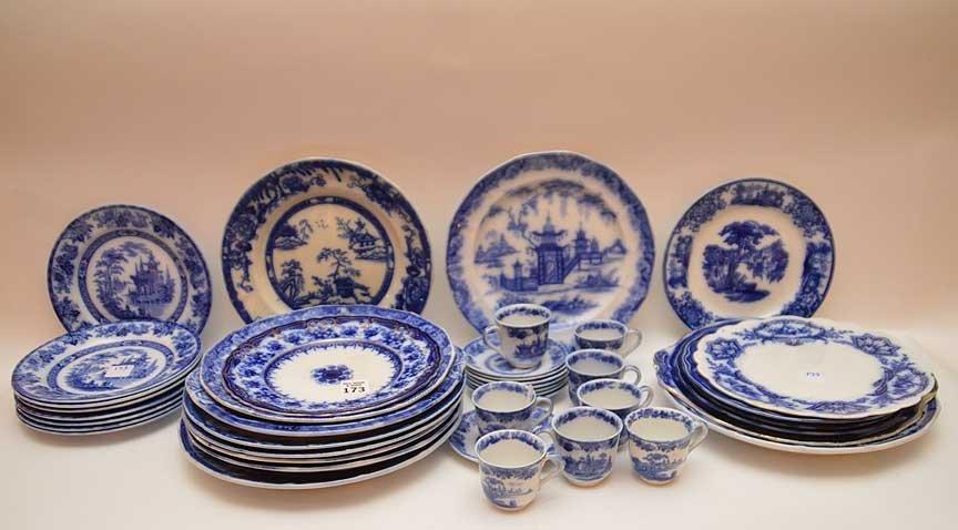 Flo Blue china and Historic transferware, 25 various
