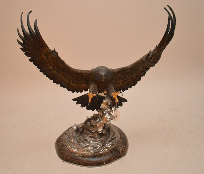 """CHESTER FIELDS """"THE ATTACK"""" BRONZE EAGLE SCULPTURE. Ht."""