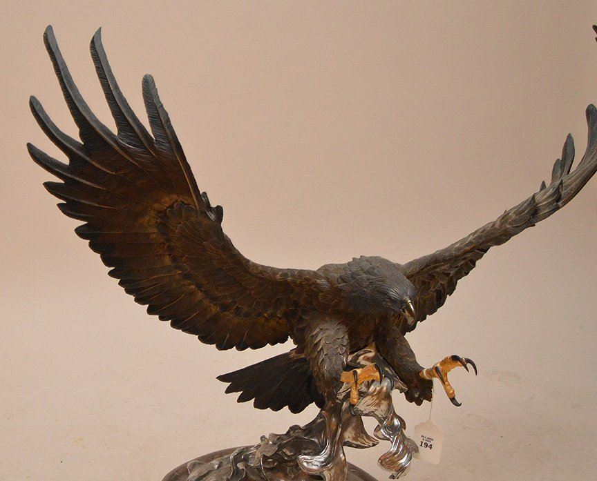 """CHESTER FIELDS """"THE ATTACK"""" BRONZE EAGLE SCULPTURE. Ht. - 2"""