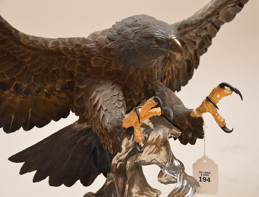 """CHESTER FIELDS """"THE ATTACK"""" BRONZE EAGLE SCULPTURE. Ht. - 3"""