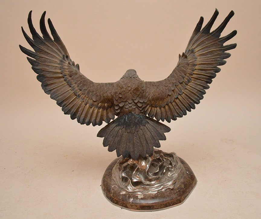 """CHESTER FIELDS """"THE ATTACK"""" BRONZE EAGLE SCULPTURE. Ht. - 5"""