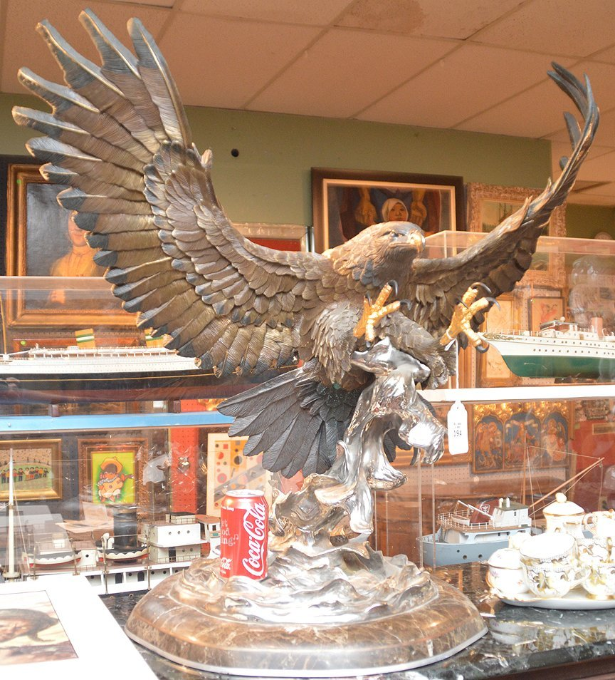 """CHESTER FIELDS """"THE ATTACK"""" BRONZE EAGLE SCULPTURE. Ht. - 7"""