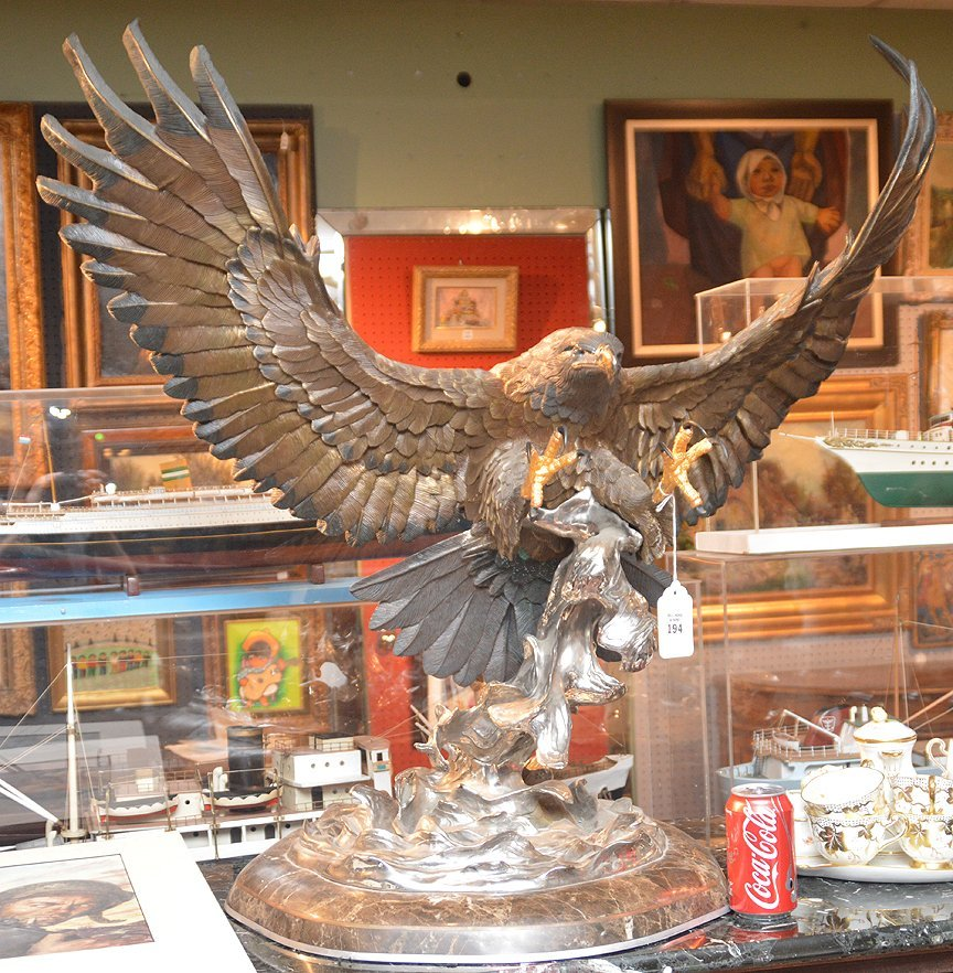 """CHESTER FIELDS """"THE ATTACK"""" BRONZE EAGLE SCULPTURE. Ht. - 8"""