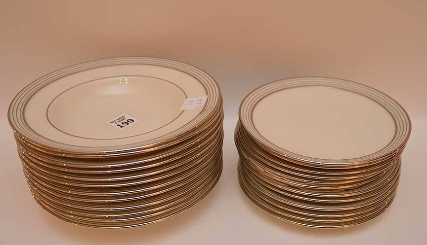 "12 Lenox soup bowls with silver banded rims, (8 1/4"")"