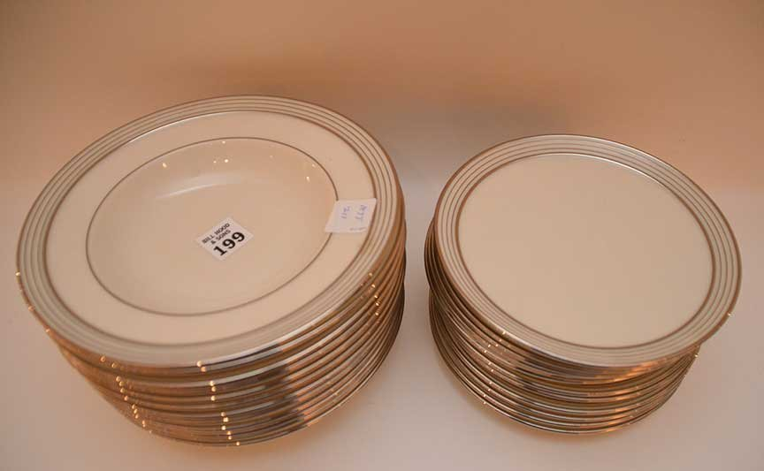 "12 Lenox soup bowls with silver banded rims, (8 1/4"") - 2"