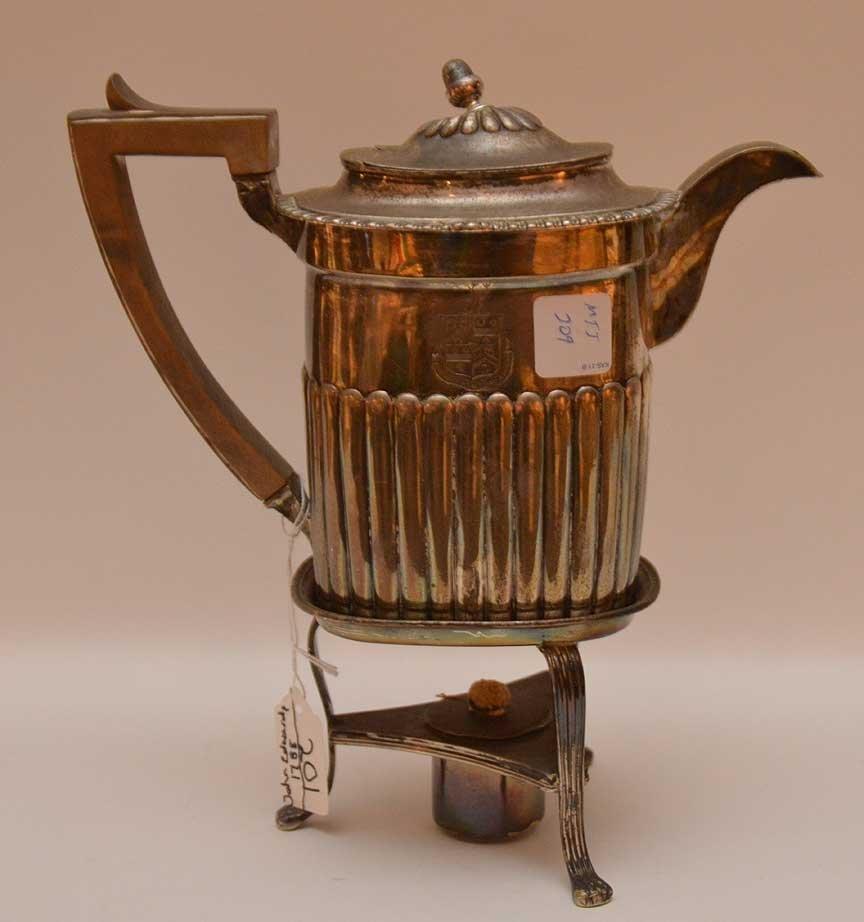 Georgian silver teapot on stand, John Edwards, approx.