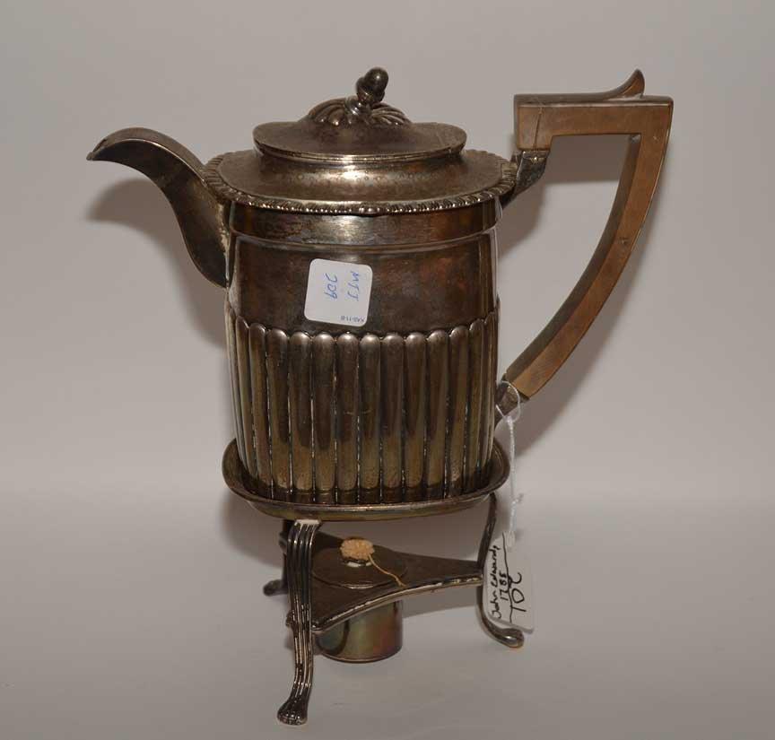 Georgian silver teapot on stand, John Edwards, approx. - 5