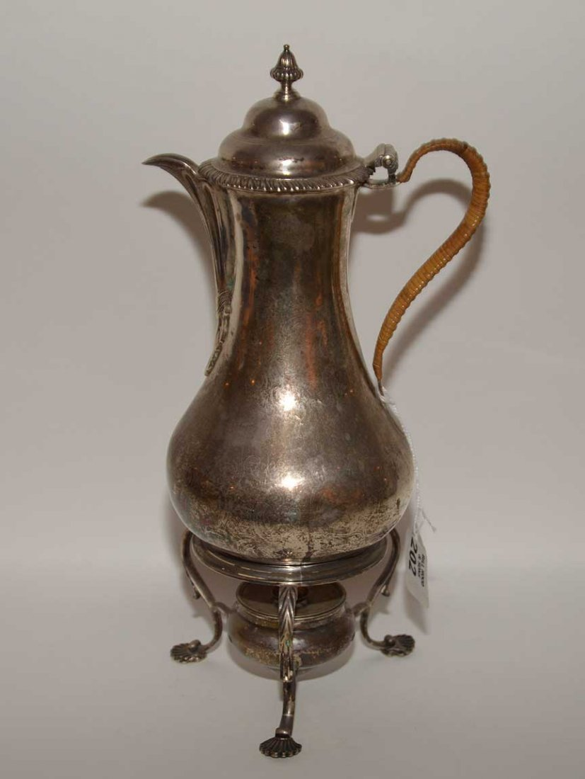 Georgian silver teapot on stand, circa 1750, Wm. Shaw