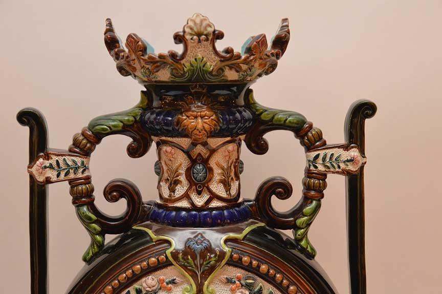 Oversized Majolica urn, ornately decorated, signed - 2