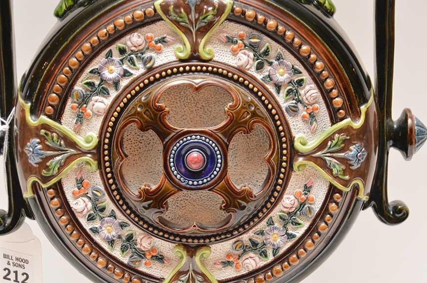 Oversized Majolica urn, ornately decorated, signed - 3