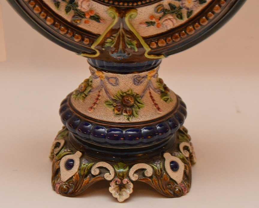 Oversized Majolica urn, ornately decorated, signed - 4