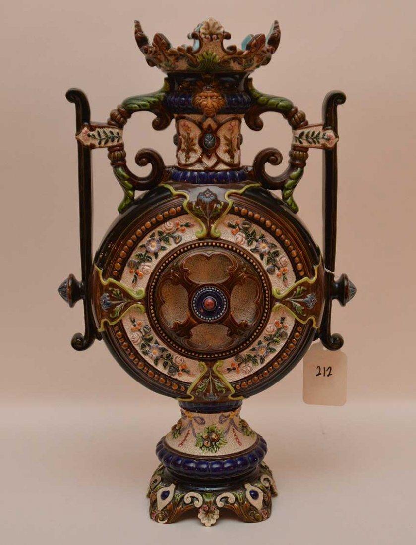 Oversized Majolica urn, ornately decorated, signed - 6