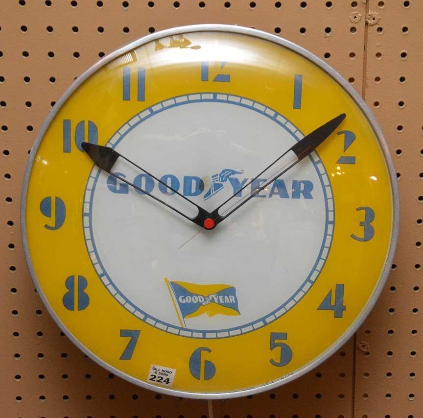 "Advertising electric ""Good Year"" wall clock, 15""dia"