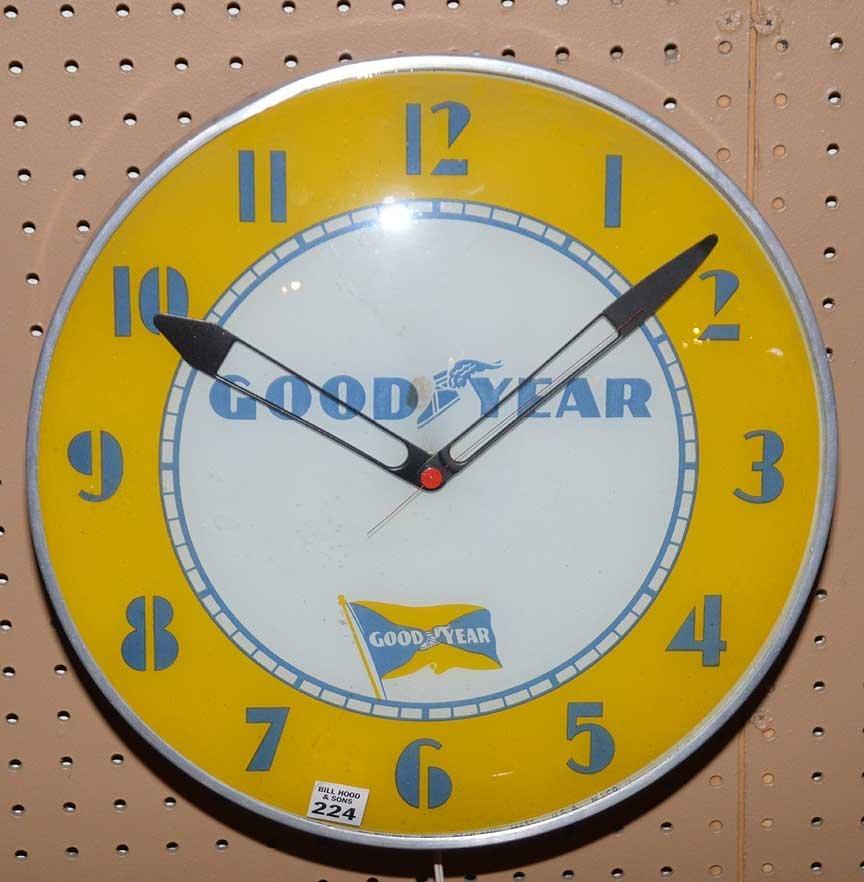 "Advertising electric ""Good Year"" wall clock, 15""dia - 2"