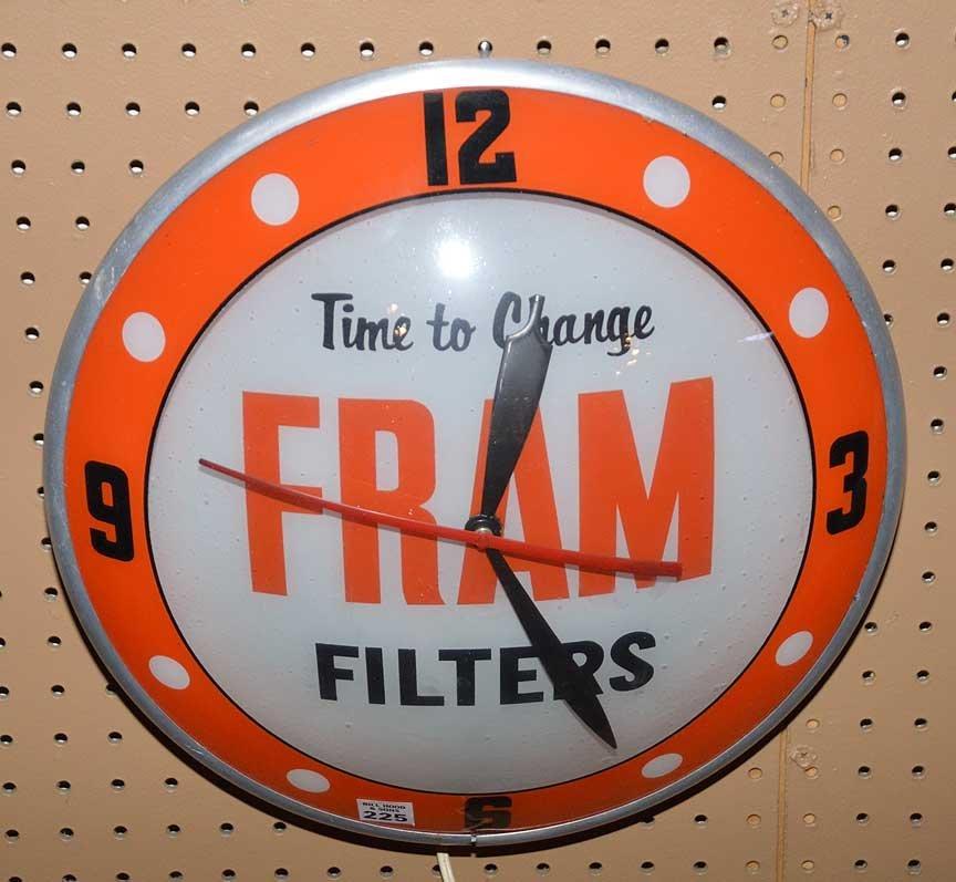 "Advertising electric ""Fram Filters"" wall clock, 16""dia"