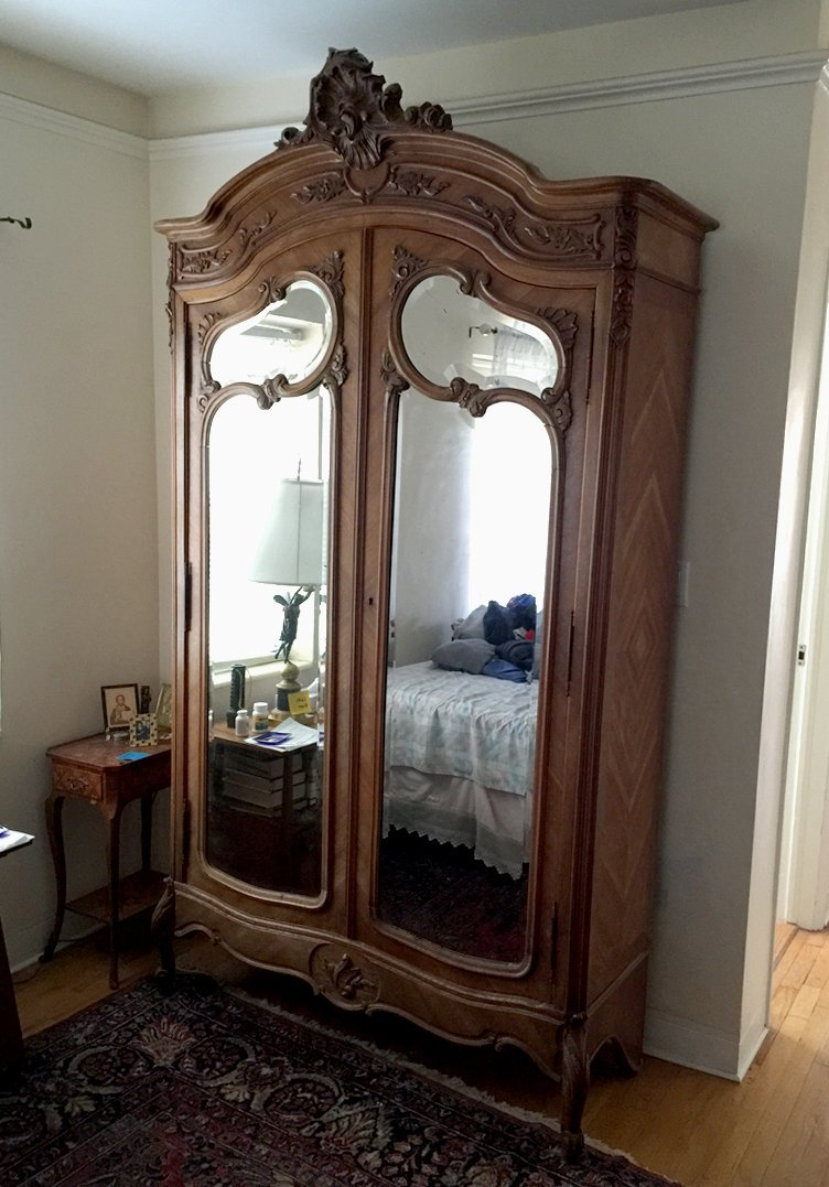 French armoire with mirrored doors