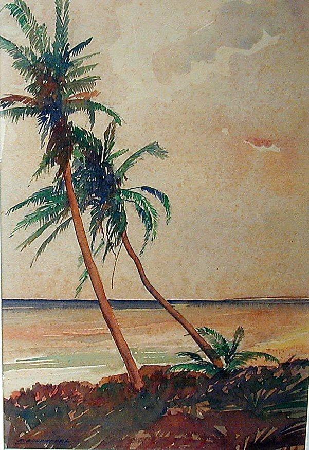 Frederick Soldwedel (Amer 1886-1957) Palm Trees W/C