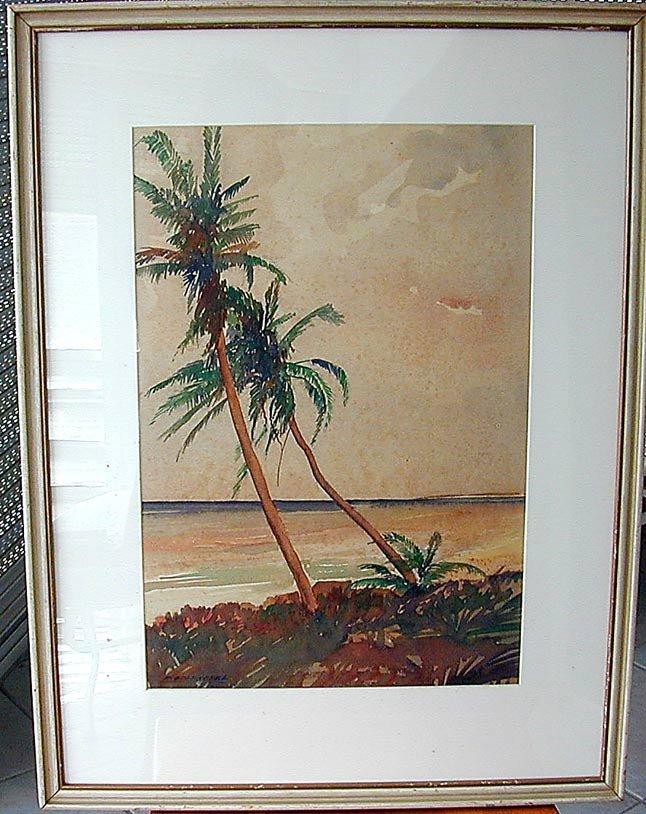 Frederick Soldwedel (Amer 1886-1957) Palm Trees W/C - 2
