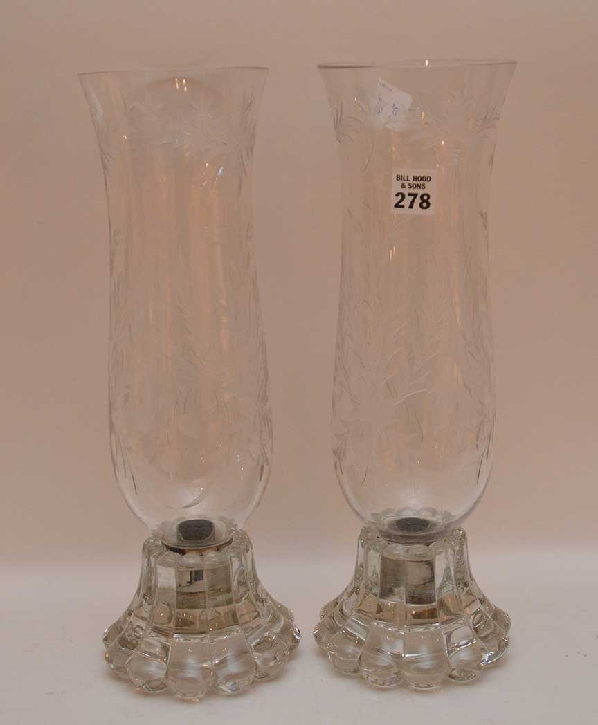 Pair Glass Candle Holders with etched glass hurricane