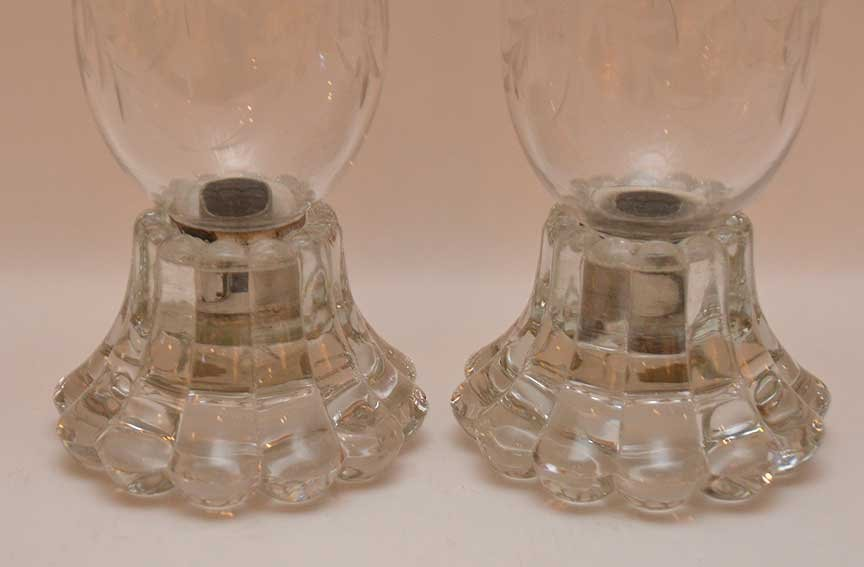 Pair Glass Candle Holders with etched glass hurricane - 2