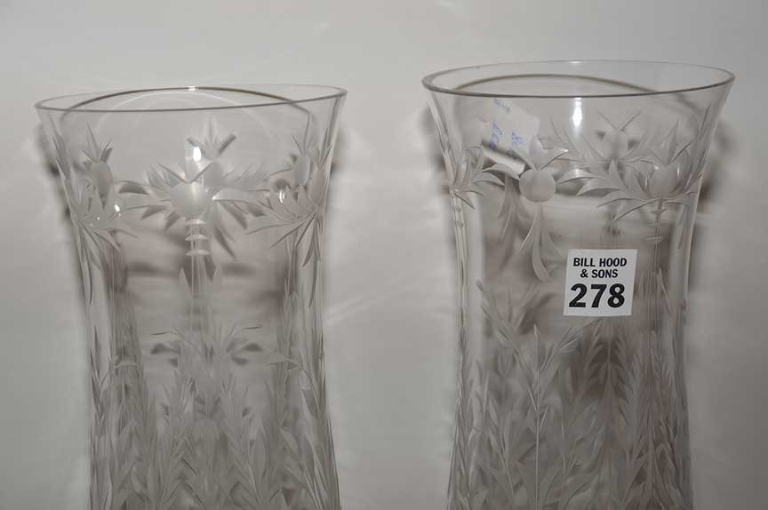 Pair Glass Candle Holders with etched glass hurricane - 3