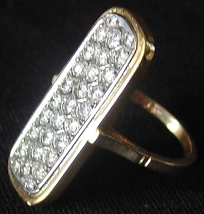 Abstract Diamond Ring, Set in a 14KT gold frame; - 3