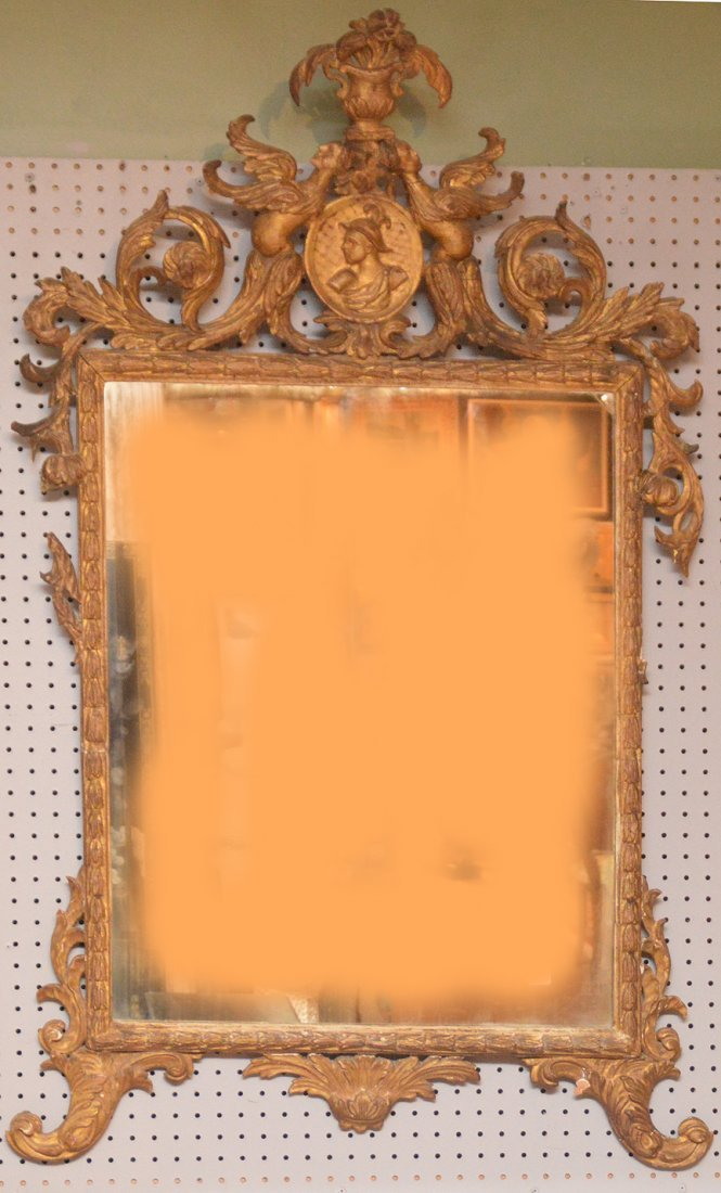 19th Century giltwood carved mirror, few missing pieces
