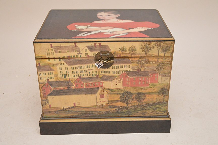 "Colonial painted motif box, 17""h x 20""w x 15 1/2""d"